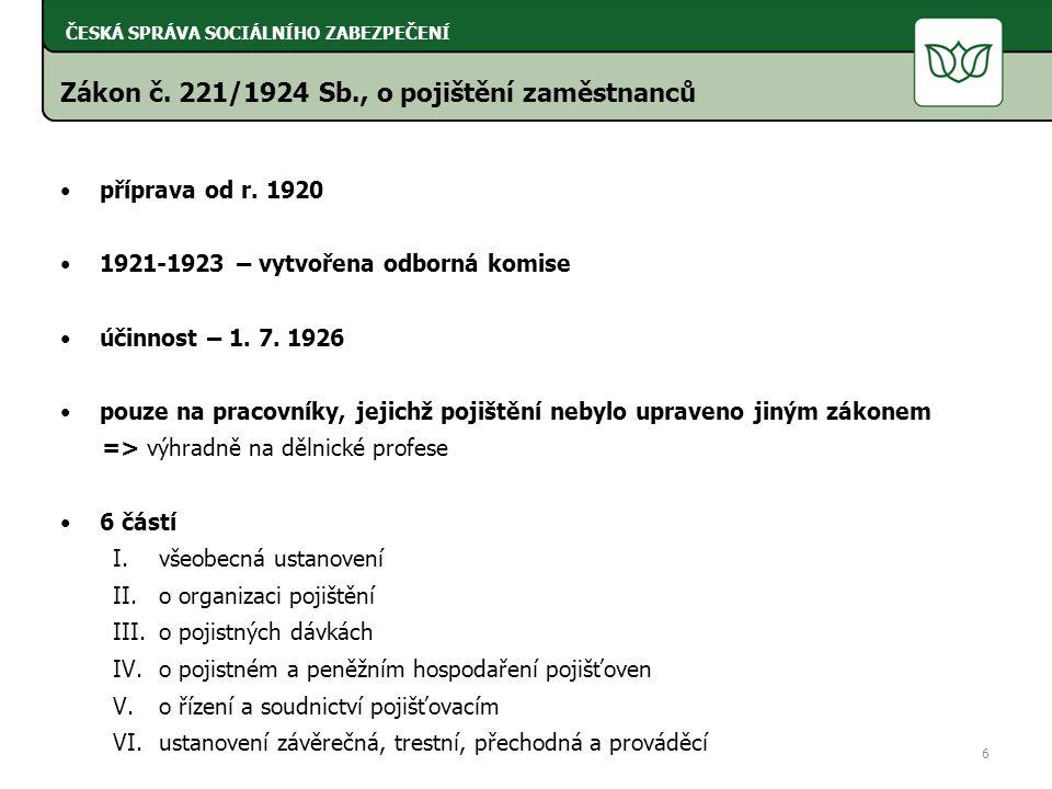Zákon č. 221/1924 Sb., o pojištění zaměstnanců příprava od r.