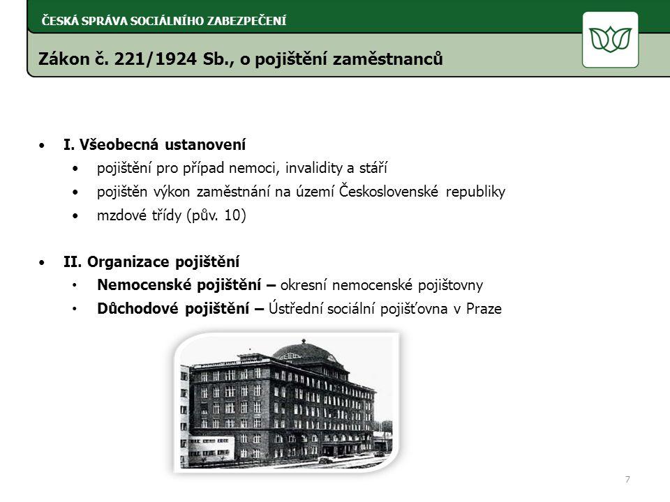 Zákon č. 221/1924 Sb., o pojištění zaměstnanců I.