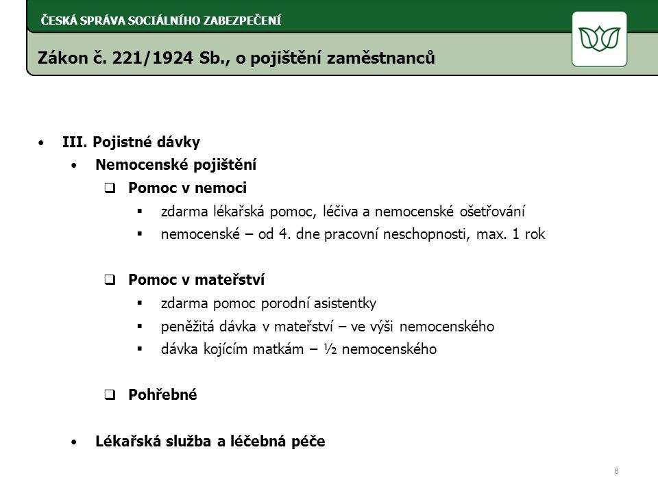 Zákon č. 221/1924 Sb., o pojištění zaměstnanců III.