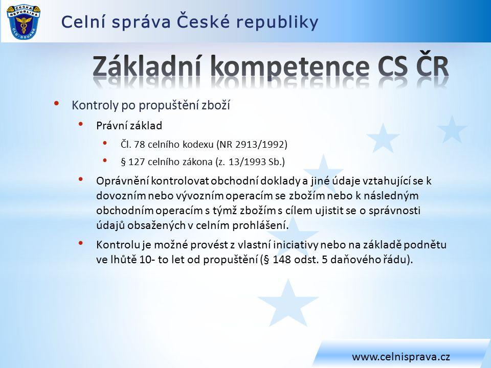 Celní správa České republiky www.celnisprava.cz Kontroly po propuštění zboží Právní základ Čl.