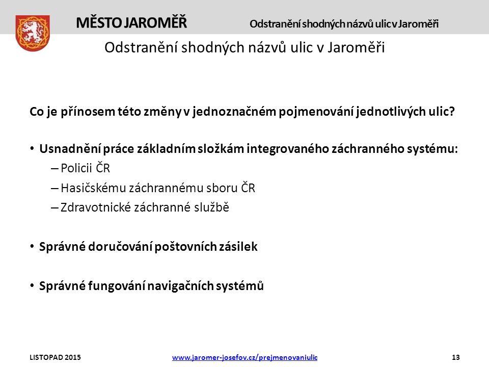 Odstranění shodných názvů ulic v Jaroměři Co je přínosem této změny v jednoznačném pojmenování jednotlivých ulic.