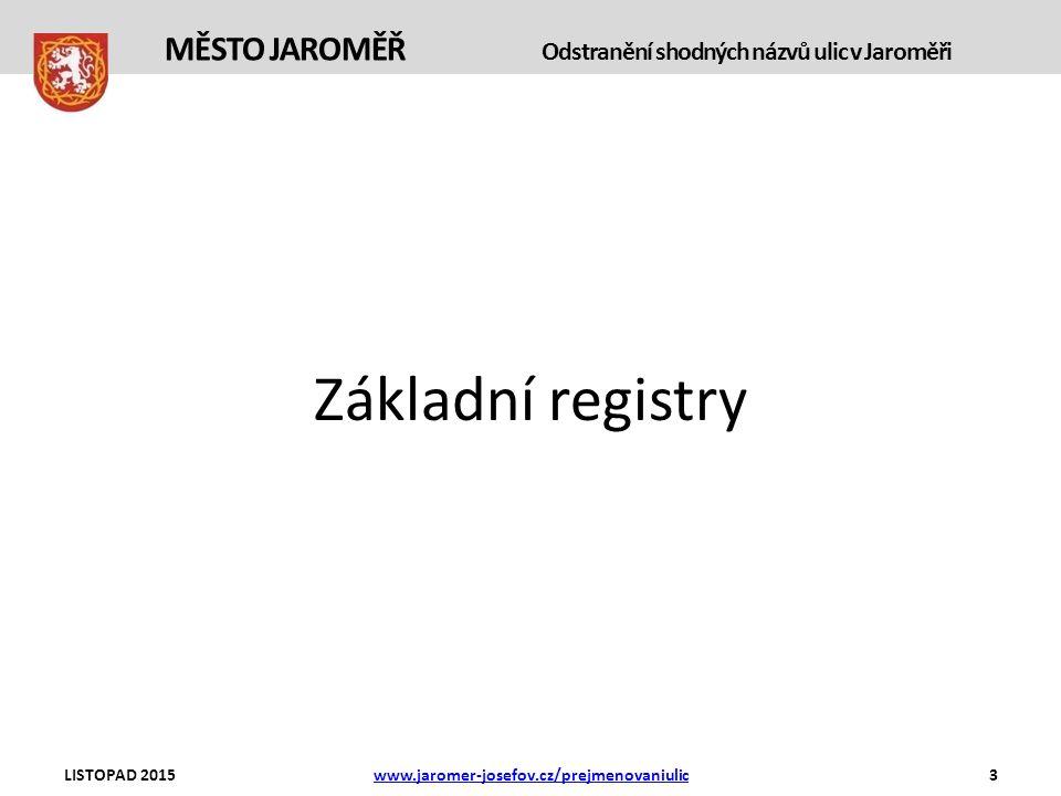 Základní registry LISTOPAD 2015www.jaromer-josefov.cz/prejmenovaniulic3 MĚSTO JAROMĚŘ Odstranění shodných názvů ulic v Jaroměři
