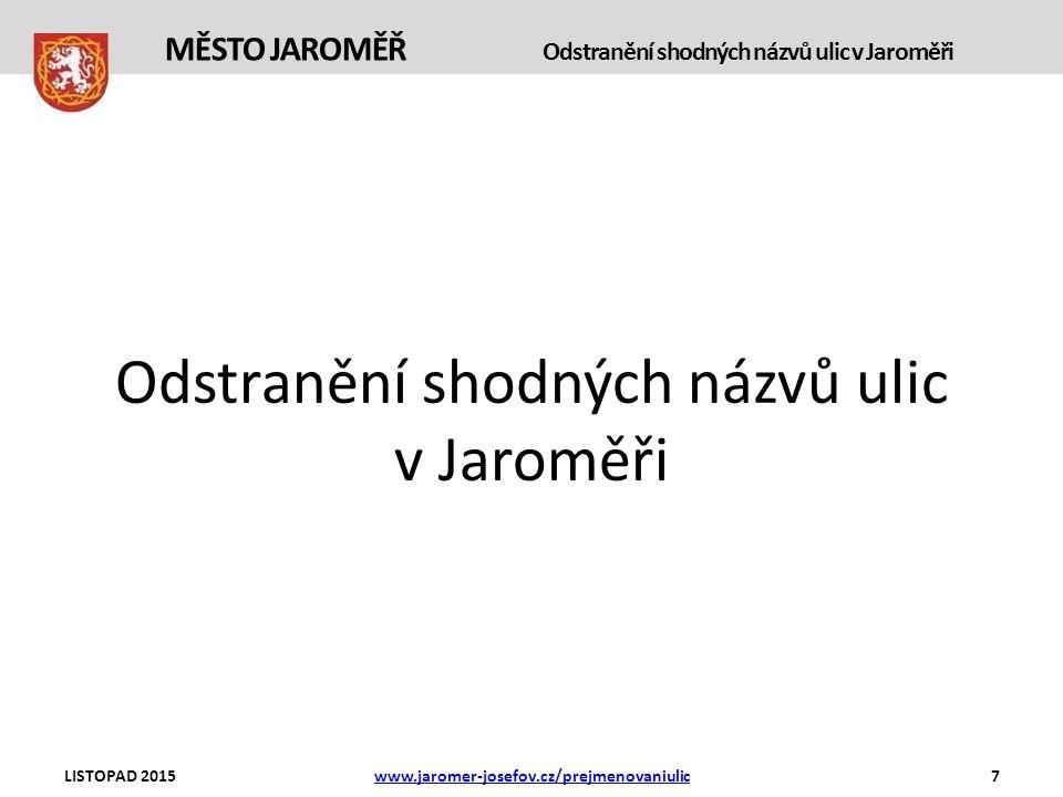 Odstranění shodných názvů ulic v Jaroměři LISTOPAD 2015www.jaromer-josefov.cz/prejmenovaniulic7 MĚSTO JAROMĚŘ Odstranění shodných názvů ulic v Jaroměři