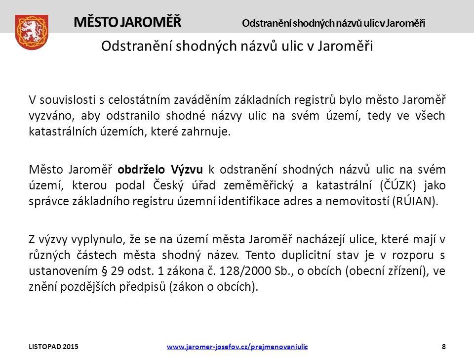 Odstranění shodných názvů ulic v Jaroměři V souvislosti s celostátním zaváděním základních registrů bylo město Jaroměř vyzváno, aby odstranilo shodné názvy ulic na svém území, tedy ve všech katastrálních územích, které zahrnuje.