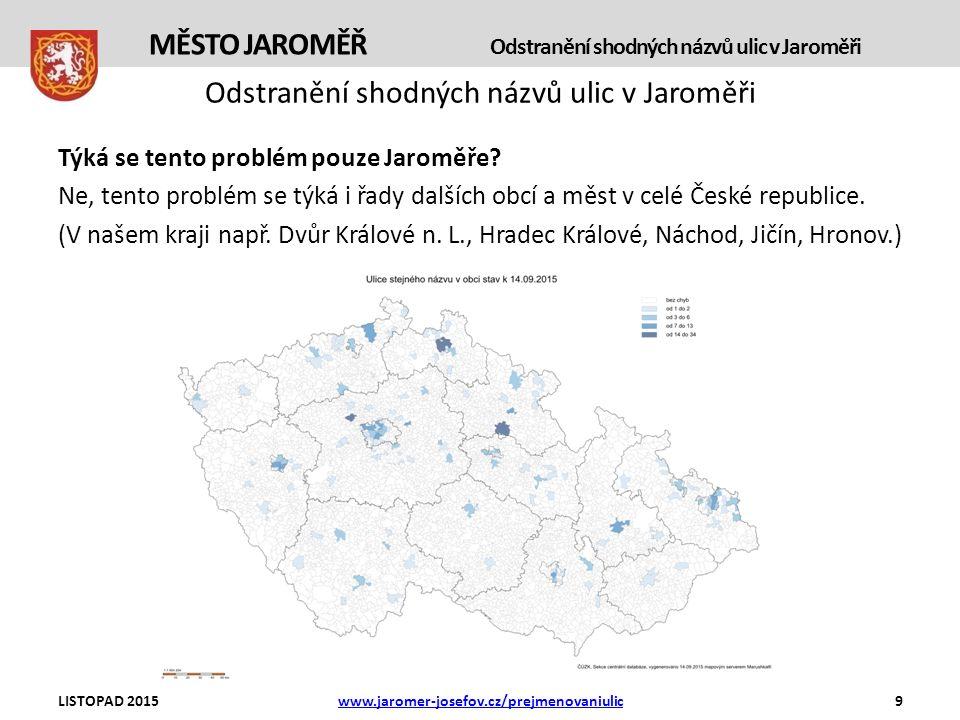 Odstranění shodných názvů ulic v Jaroměři Týká se tento problém pouze Jaroměře.