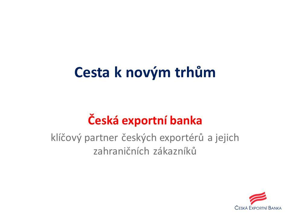 1.Smlouva o vývozu, jejímž předmětem je dodávka zboží a/nebo služeb 2.Mezibankovní úvěrová smlouva 3.Smlouva o pojištění exportních úvěrových rizik 4.Úvěrová smlouva 5.Dodávka zboží a/nebo služeb 6.Poskytnutí odběratelského úvěru prostřednictvím banky dovozce 7.Poskytnutí úvěru z prostředků získaných od České exportní banky 8.Čerpání odběratelského úvěru přímo ve prospěch exportéra 9.Splácení úvěru dovozcem jeho bance 10.Splácení úvěru bankou dovozce České exportní bance 13 Nepřímý exportní odběratelský úvěr (příjemcem úvěru je banka zahraničního importéra)
