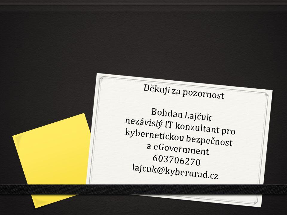 Děkuji za pozornost Bohdan Lajčuk nezávislý IT konzultant pro kybernetickou bezpečnost a eGovernment 603706270 lajcuk@kyberurad.cz