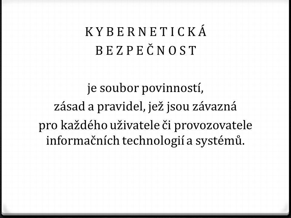K Y B E R N E T I C K Á B E Z P E Č N O S T je soubor povinností, zásad a pravidel, jež jsou závazná pro každého uživatele či provozovatele informačních technologií a systémů.