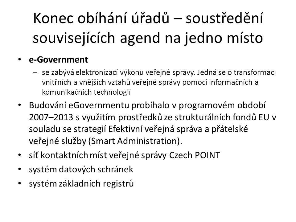 Konec obíhání úřadů – soustředění souvisejících agend na jedno místo e-Government – se zabývá elektronizací výkonu veřejné správy.