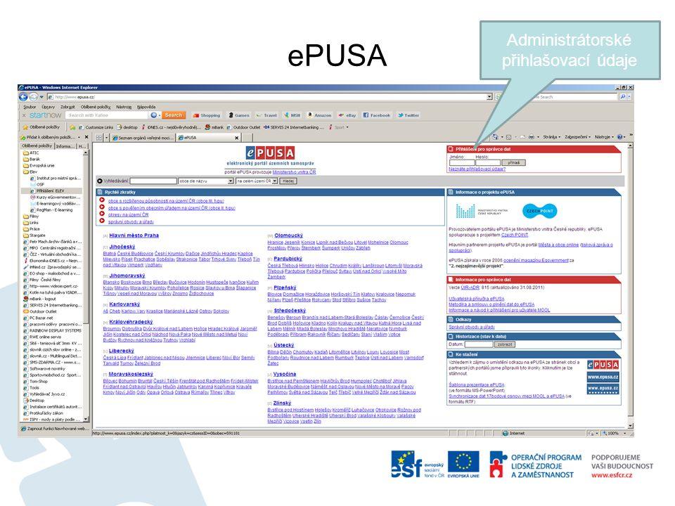 ePUSA Administrátorské přihlašovací údaje