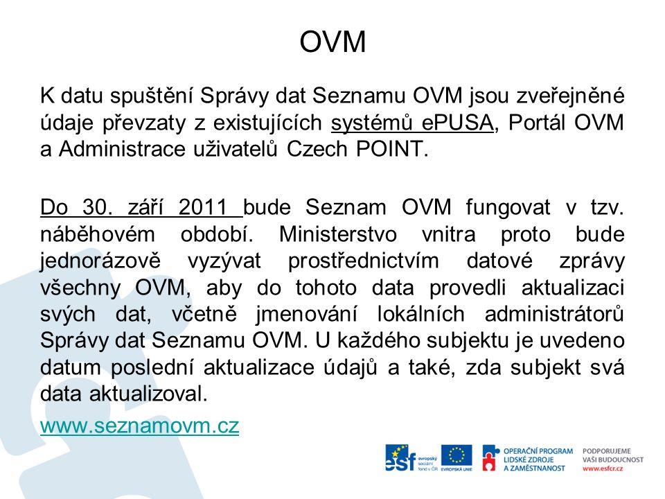 OVM K datu spuštění Správy dat Seznamu OVM jsou zveřejněné údaje převzaty z existujících systémů ePUSA, Portál OVM a Administrace uživatelů Czech POIN