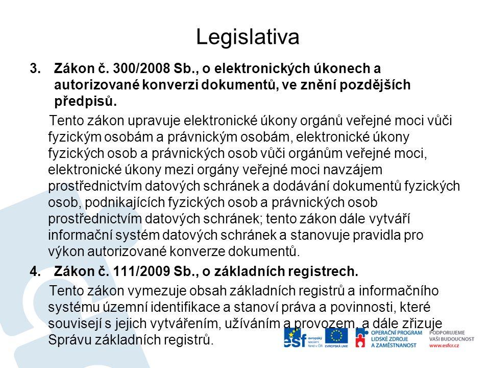 Legislativa 3.Zákon č. 300/2008 Sb., o elektronických úkonech a autorizované konverzi dokumentů, ve znění pozdějších předpisů. Tento zákon upravuje el