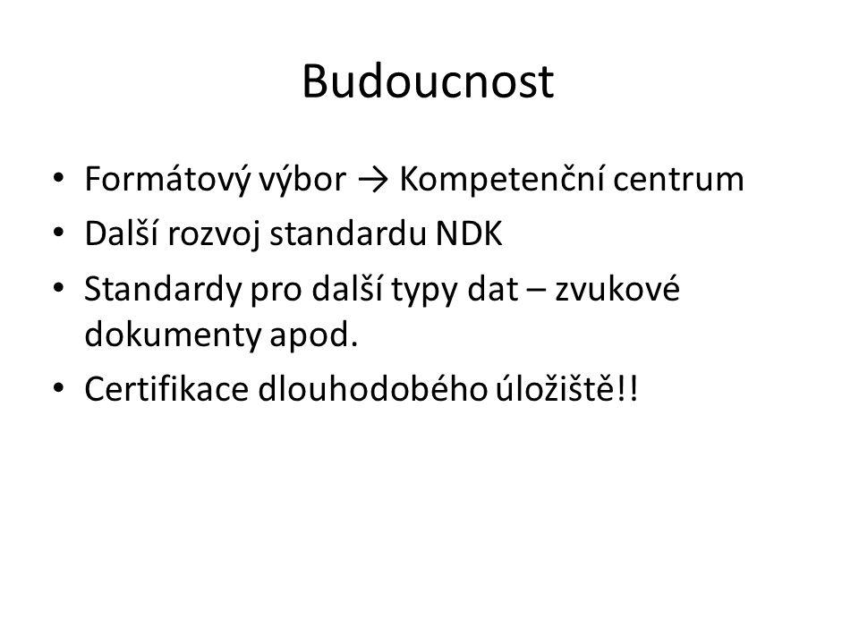 Budoucnost Formátový výbor → Kompetenční centrum Další rozvoj standardu NDK Standardy pro další typy dat – zvukové dokumenty apod.