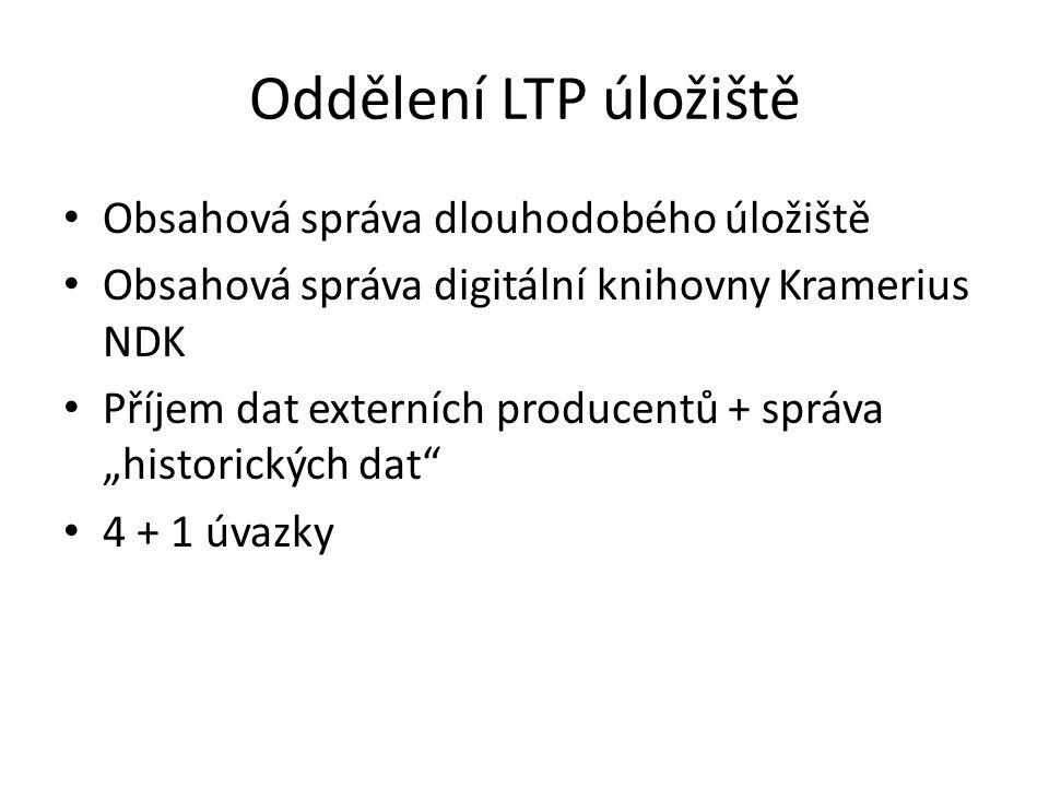 """Oddělení LTP úložiště Obsahová správa dlouhodobého úložiště Obsahová správa digitální knihovny Kramerius NDK Příjem dat externích producentů + správa """"historických dat 4 + 1 úvazky"""