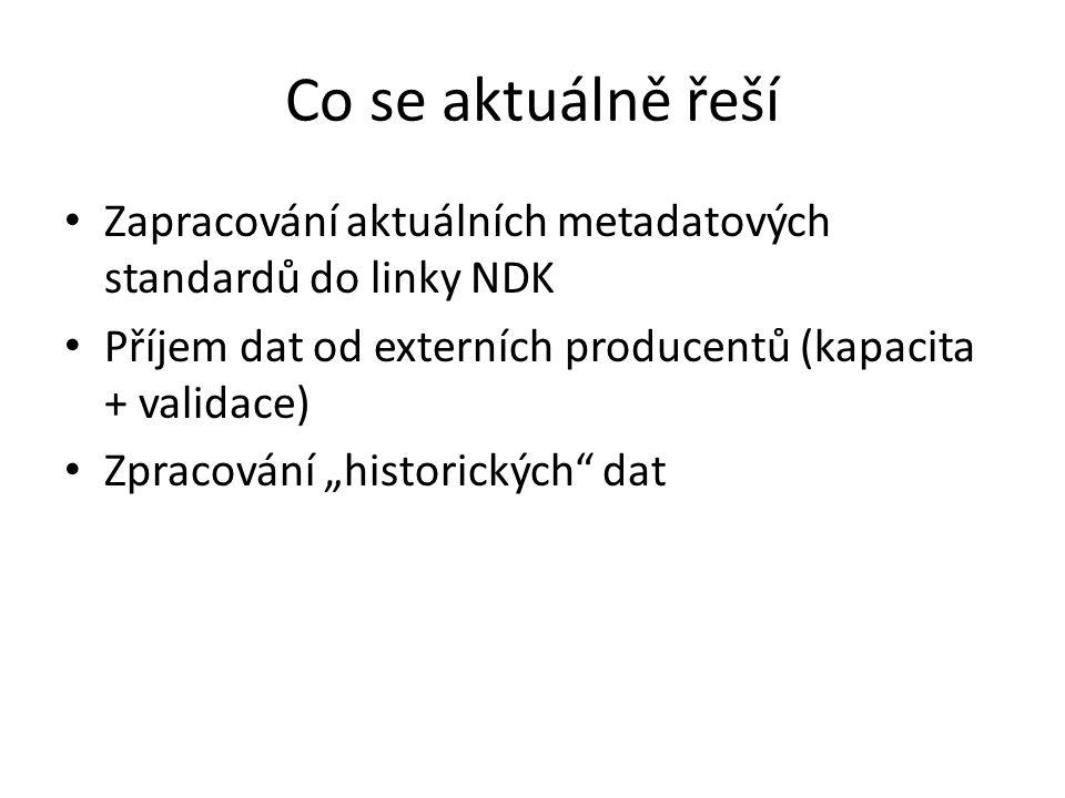 """Co se aktuálně řeší Zapracování aktuálních metadatových standardů do linky NDK Příjem dat od externích producentů (kapacita + validace) Zpracování """"historických dat"""