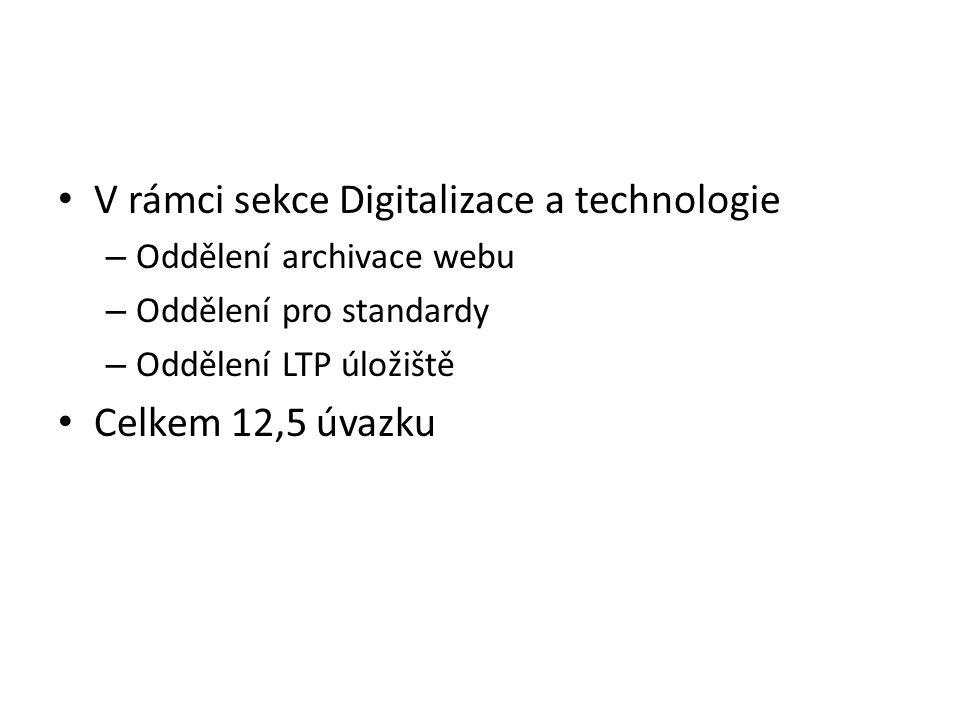 V rámci sekce Digitalizace a technologie – Oddělení archivace webu – Oddělení pro standardy – Oddělení LTP úložiště Celkem 12,5 úvazku