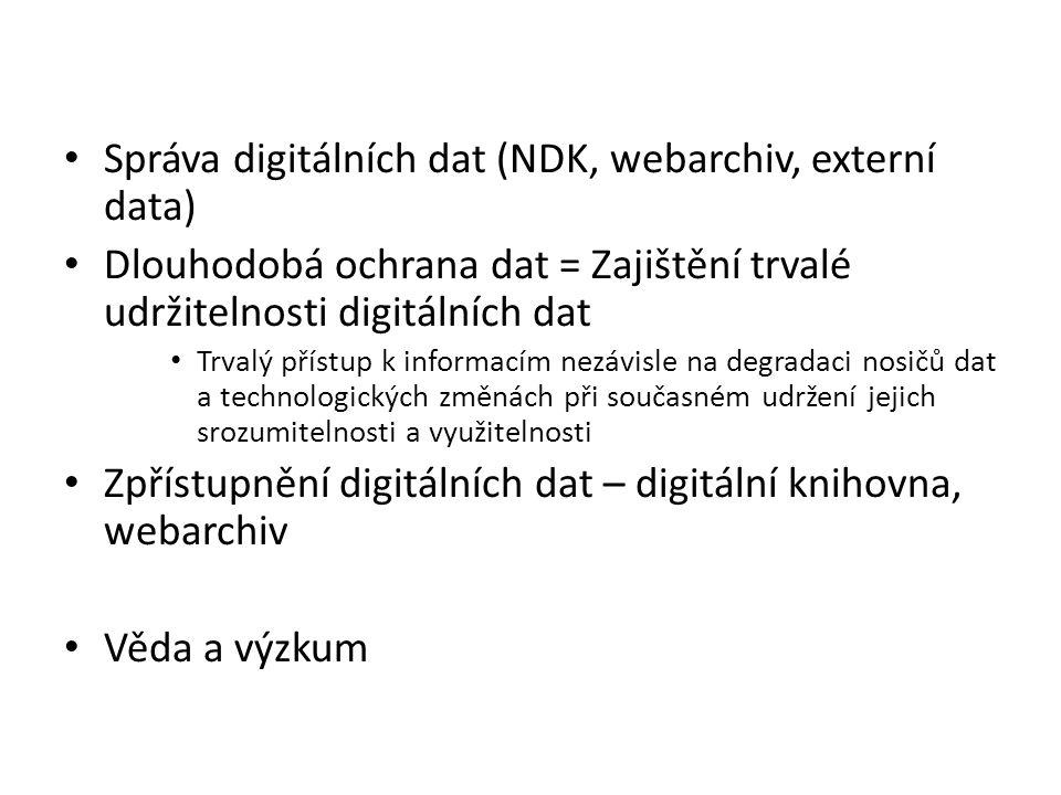 Správa digitálních dat (NDK, webarchiv, externí data) Dlouhodobá ochrana dat = Zajištění trvalé udržitelnosti digitálních dat Trvalý přístup k informacím nezávisle na degradaci nosičů dat a technologických změnách při současném udržení jejich srozumitelnosti a využitelnosti Zpřístupnění digitálních dat – digitální knihovna, webarchiv Věda a výzkum