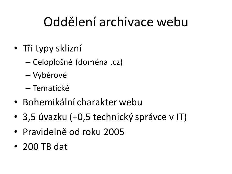 Oddělení archivace webu Tři typy sklizní – Celoplošné (doména.cz) – Výběrové – Tematické Bohemikální charakter webu 3,5 úvazku (+0,5 technický správce v IT) Pravidelně od roku 2005 200 TB dat
