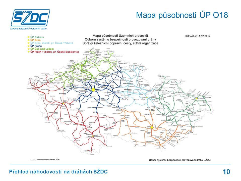 Přehled nehodovosti na dráhách SŽDC Mapa působnosti ÚP O18 10