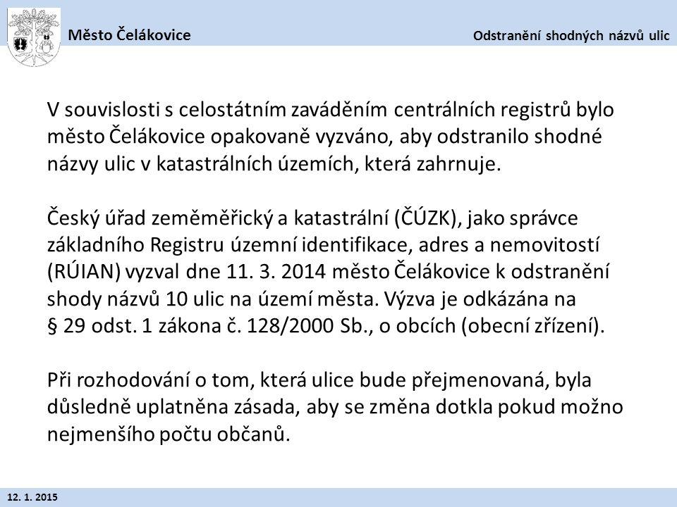 Odstranění shodných názvů ulic Město Čelákovice 12. 1. 2015 V souvislosti s celostátním zaváděním centrálních registrů bylo město Čelákovice opakovaně