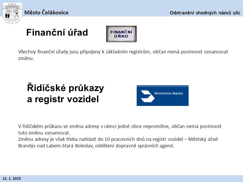 Odstranění shodných názvů ulic Město Čelákovice 12. 1. 2015 Všechny finanční úřady jsou připojeny k základním registrům, občan nemá povinnost oznamova