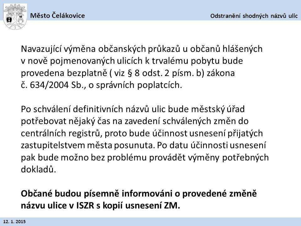 Odstranění shodných názvů ulic Město Čelákovice 12. 1. 2015 Navazující výměna občanských průkazů u občanů hlášených v nově pojmenovaných ulicích k trv