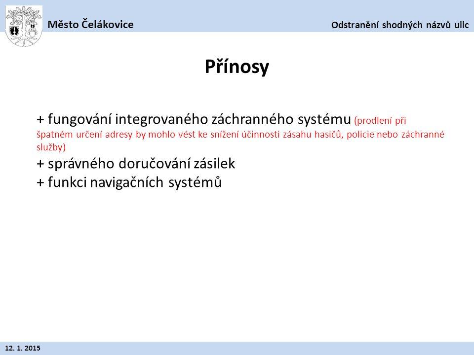 Odstranění shodných názvů ulic Město Čelákovice 12. 1. 2015 + fungování integrovaného záchranného systému (prodlení při špatném určení adresy by mohlo