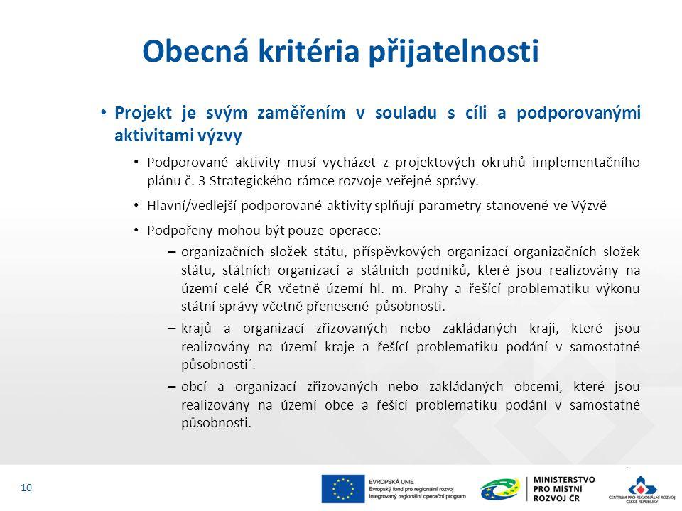 Projekt je svým zaměřením v souladu s cíli a podporovanými aktivitami výzvy Podporované aktivity musí vycházet z projektových okruhů implementačního plánu č.