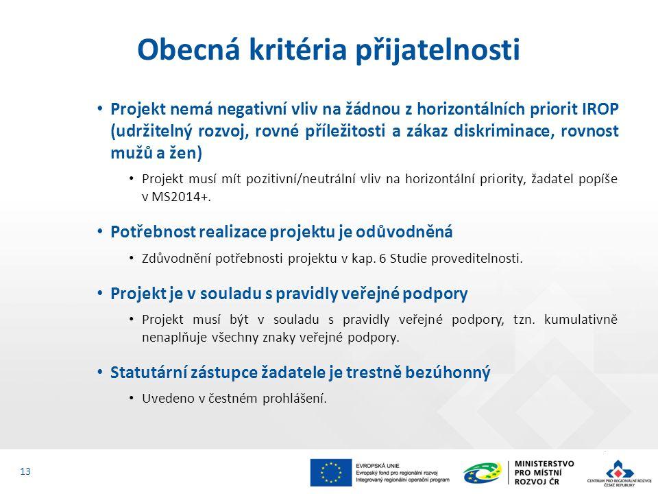 Projekt nemá negativní vliv na žádnou z horizontálních priorit IROP (udržitelný rozvoj, rovné příležitosti a zákaz diskriminace, rovnost mužů a žen) Projekt musí mít pozitivní/neutrální vliv na horizontální priority, žadatel popíše v MS2014+.