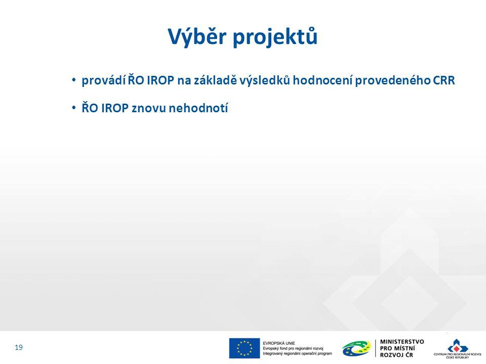 provádí ŘO IROP na základě výsledků hodnocení provedeného CRR ŘO IROP znovu nehodnotí Výběr projektů 19