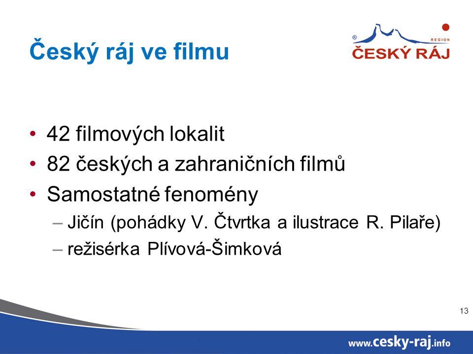 Český ráj ve filmu 42 filmových lokalit 82 českých a zahraničních filmů Samostatné fenomény –Jičín (pohádky V.