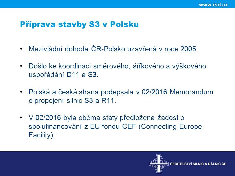 www.rsd.cz Příprava stavby S3 v Polsku Mezivládní dohoda ČR-Polsko uzavřená v roce 2005.