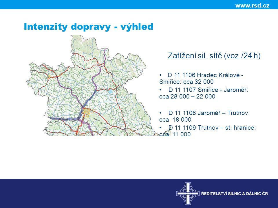 www.rsd.cz Intenzity dopravy - výhled Zatížení sil.