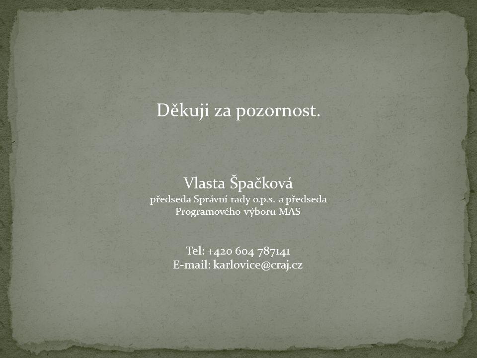 Děkuji za pozornost. Vlasta Špačková předseda Správní rady o.p.s.