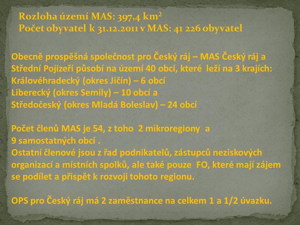 Rozloha území MAS: 397,4 km² Počet obyvatel k 31.12.2011 v MAS: 41 226 obyvatel Obecně prospěšná společnost pro Český ráj – MAS Český ráj a Střední Pojizeří působí na území 40 obcí, které leží na 3 krajích: Královéhradecký (okres Jičín) – 6 obcí Liberecký (okres Semily) – 10 obcí a Středočeský (okres Mladá Boleslav) – 24 obcí Počet členů MAS je 54, z toho 2 mikroregiony a 9 samostatných obcí.