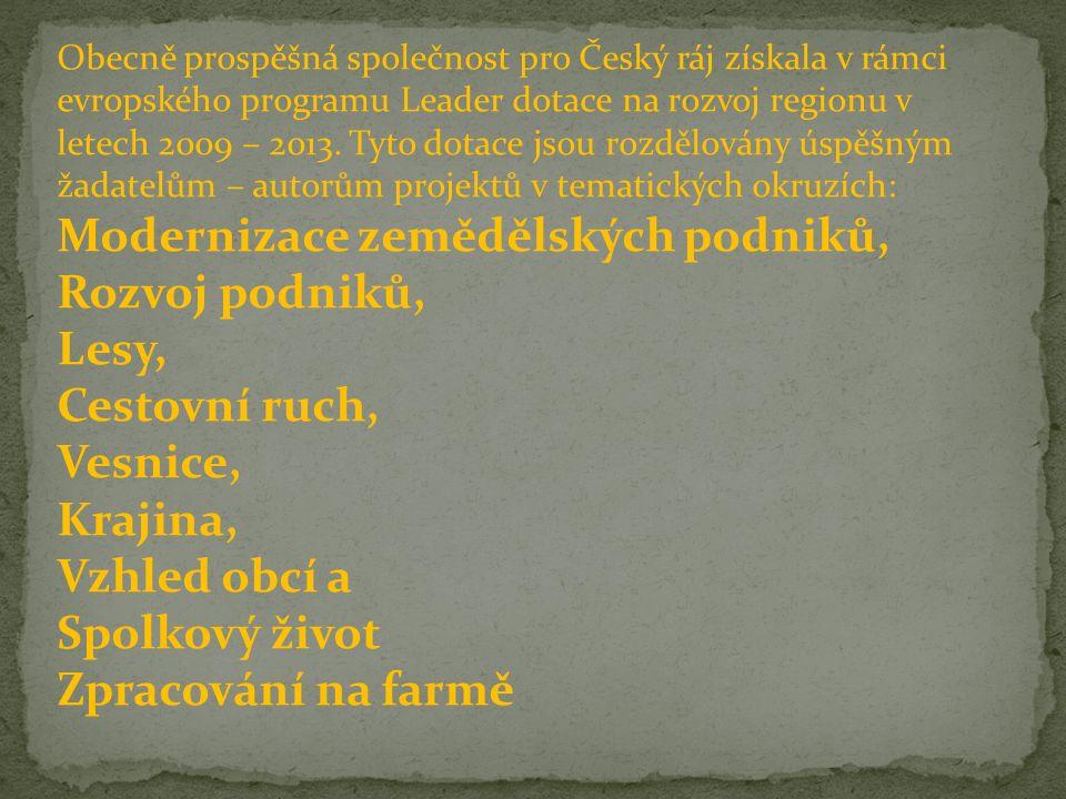 Obecně prospěšná společnost pro Český ráj získala v rámci evropského programu Leader dotace na rozvoj regionu v letech 2009 – 2013.