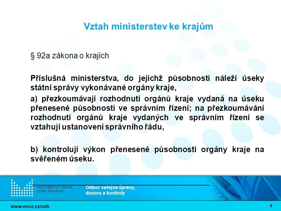 www.mvcr.cz/odk Odbor veřejné správy, dozoru a kontroly 5 Koordinační role Ministerstva vnitra § 12 zákona č.