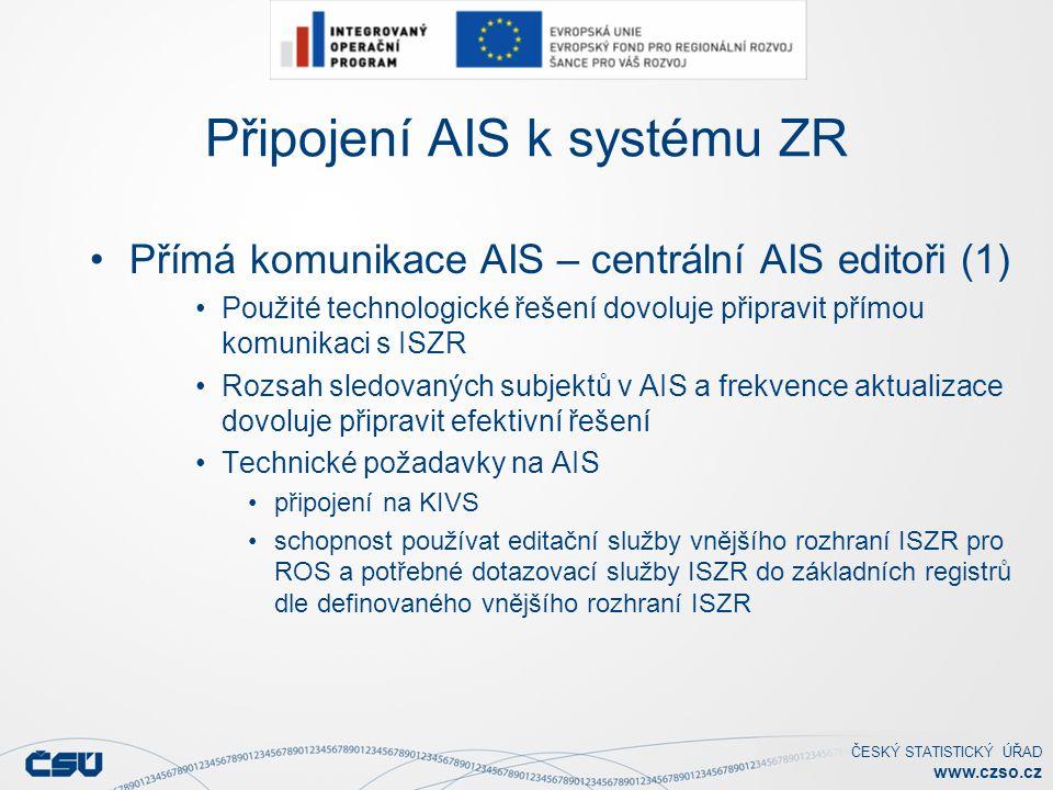 ČESKÝ STATISTICKÝ ÚŘAD www.czso.cz Připojení AIS k systému ZR Přímá komunikace AIS – centrální AIS editoři (1) Použité technologické řešení dovoluje připravit přímou komunikaci s ISZR Rozsah sledovaných subjektů v AIS a frekvence aktualizace dovoluje připravit efektivní řešení Technické požadavky na AIS připojení na KIVS schopnost používat editační služby vnějšího rozhraní ISZR pro ROS a potřebné dotazovací služby ISZR do základních registrů dle definovaného vnějšího rozhraní ISZR