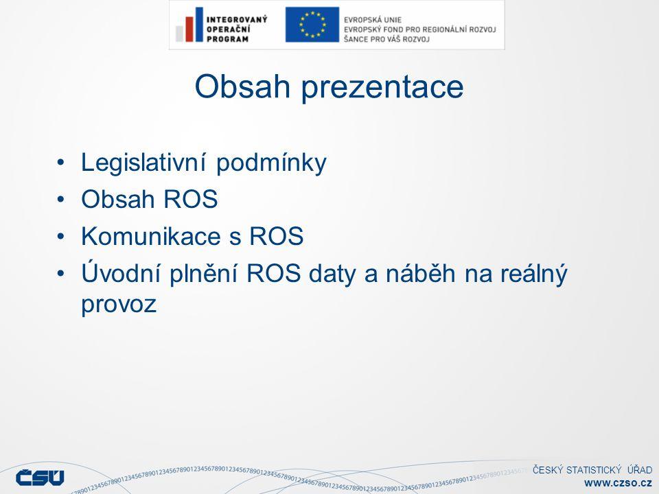 ČESKÝ STATISTICKÝ ÚŘAD www.czso.cz Komunikace s ROS (2) Komunikace ostatních needitorských agend Služby realizující dotazy ROS Výpis údajů pro IČO, IČP Výpis údajů pro IČO dle AIFO Výpis údajů dle seznamu IČO Vyhledání osoby dle údajů Služby realizující poskytování změn v ZR
