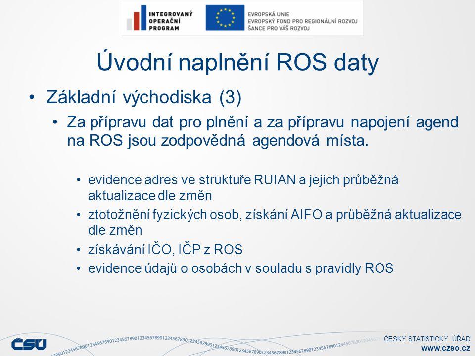 ČESKÝ STATISTICKÝ ÚŘAD www.czso.cz Úvodní naplnění ROS daty Základní východiska (3) Za přípravu dat pro plnění a za přípravu napojení agend na ROS jsou zodpovědná agendová místa.