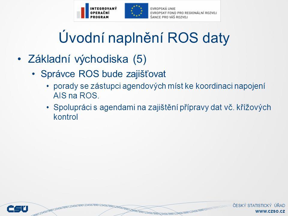 ČESKÝ STATISTICKÝ ÚŘAD www.czso.cz Úvodní naplnění ROS daty Základní východiska (5) Správce ROS bude zajišťovat porady se zástupci agendových míst ke koordinaci napojení AIS na ROS.
