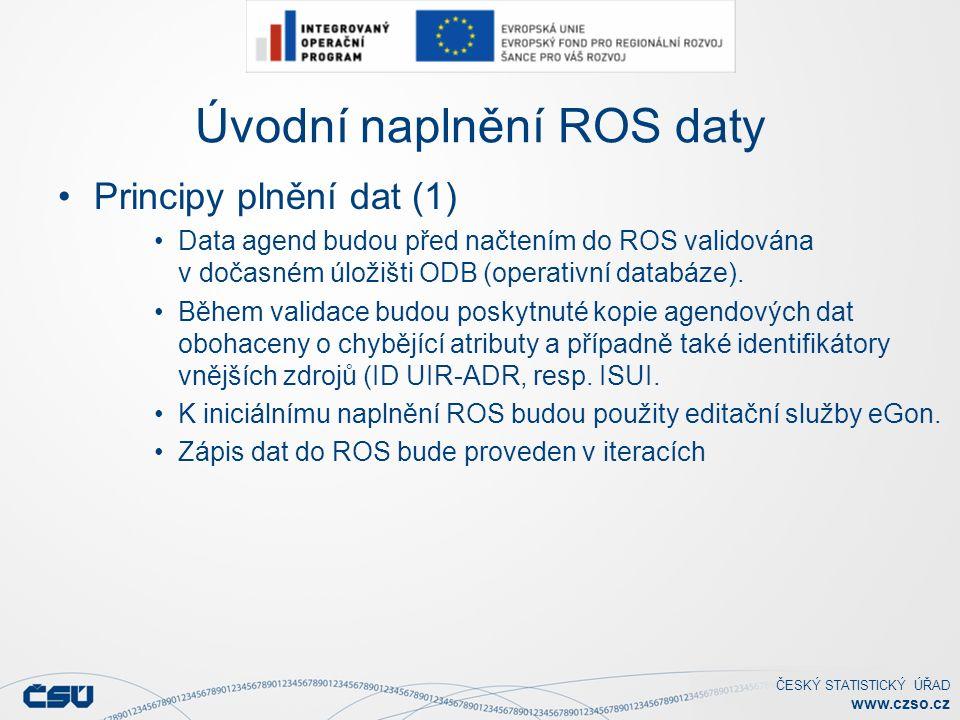 ČESKÝ STATISTICKÝ ÚŘAD www.czso.cz Úvodní naplnění ROS daty Principy plnění dat (1) Data agend budou před načtením do ROS validována v dočasném úložišti ODB (operativní databáze).