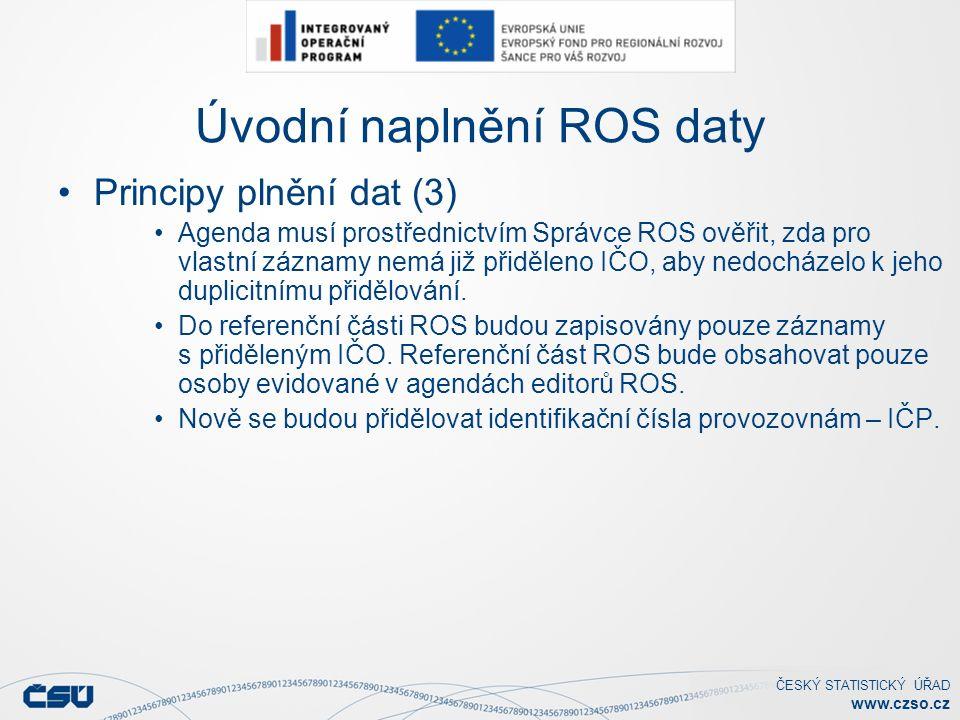 ČESKÝ STATISTICKÝ ÚŘAD www.czso.cz Úvodní naplnění ROS daty Principy plnění dat (3) Agenda musí prostřednictvím Správce ROS ověřit, zda pro vlastní záznamy nemá již přiděleno IČO, aby nedocházelo k jeho duplicitnímu přidělování.