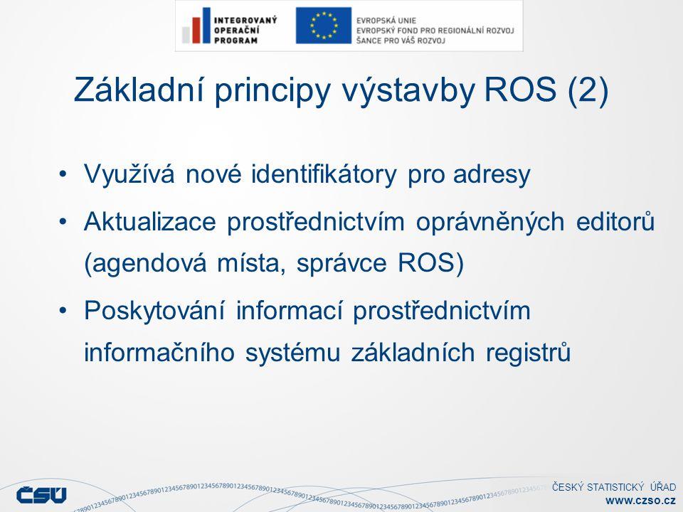ČESKÝ STATISTICKÝ ÚŘAD www.czso.cz Úvodní naplnění ROS daty Základní východiska (4) Za přípravu dat pro plnění a za přípravu napojení agend na ROS jsou zodpovědná agendová místa.