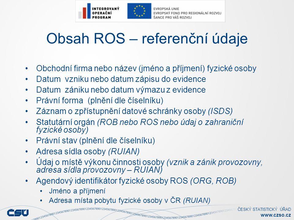 ČESKÝ STATISTICKÝ ÚŘAD www.czso.cz Úvodní naplnění ROS daty