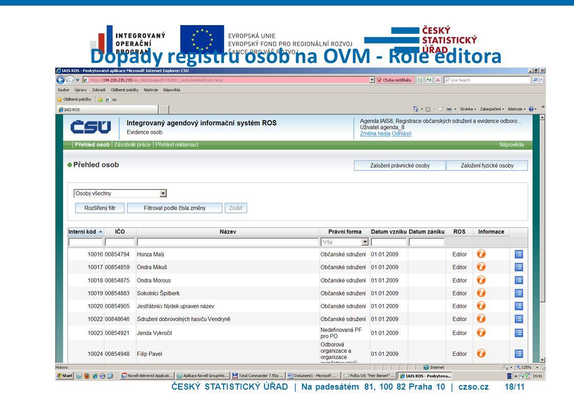ČESKÝ STATISTICKÝ ÚŘAD | Na padesátém 81, 100 82 Praha 10 | czso.cz18/11 Dopady registru osob na OVM - Role editora