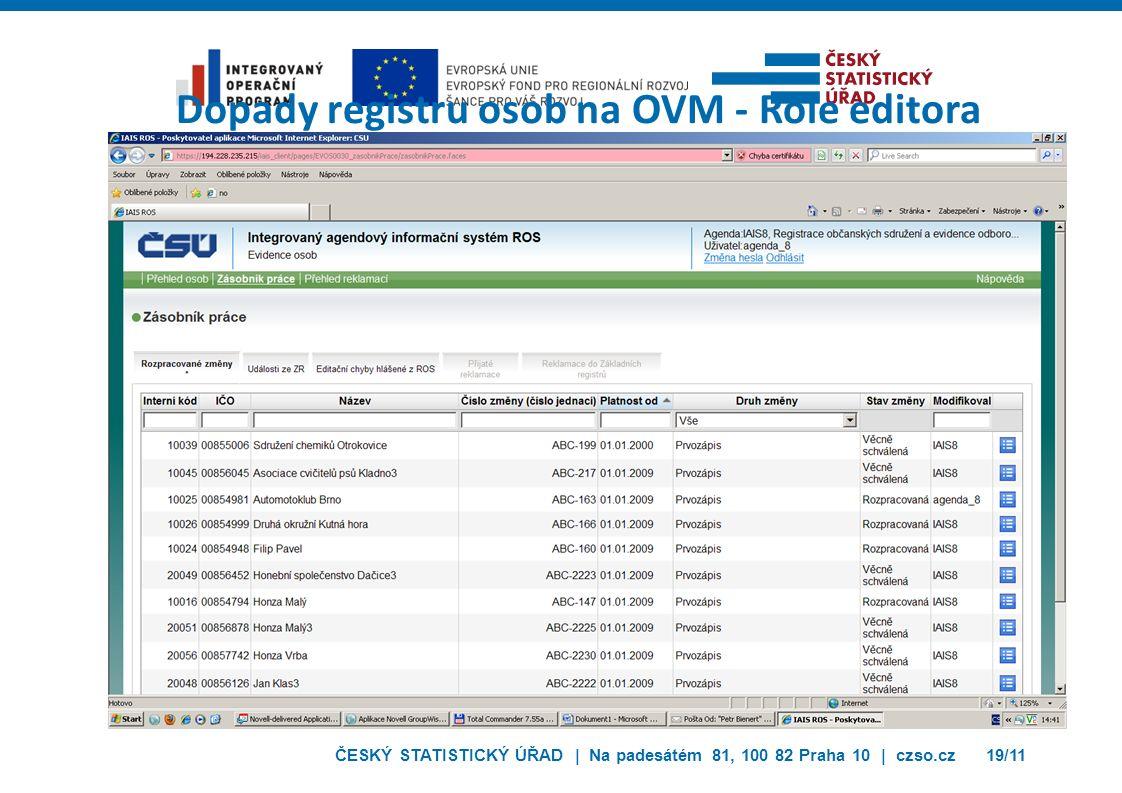 ČESKÝ STATISTICKÝ ÚŘAD | Na padesátém 81, 100 82 Praha 10 | czso.cz19/11 Dopady registru osob na OVM - Role editora
