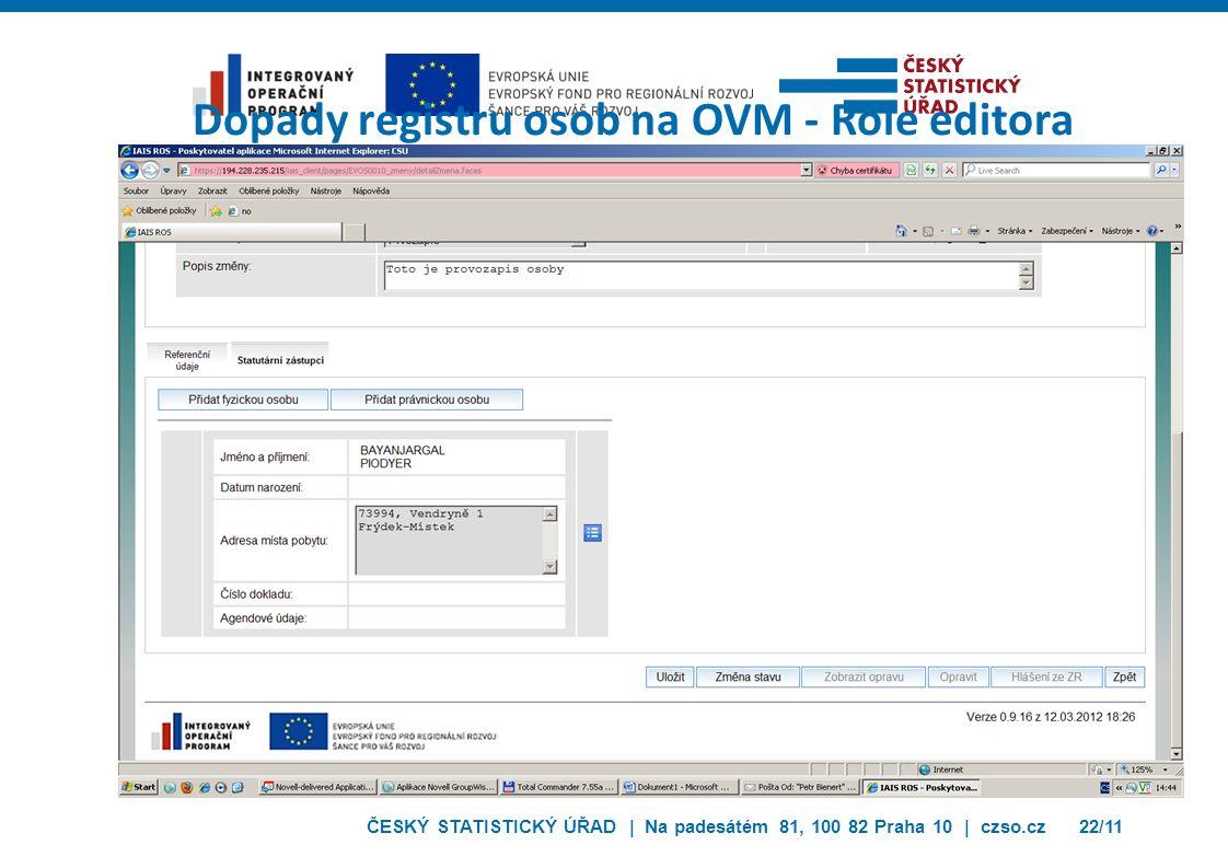 ČESKÝ STATISTICKÝ ÚŘAD | Na padesátém 81, 100 82 Praha 10 | czso.cz22/11 Dopady registru osob na OVM - Role editora