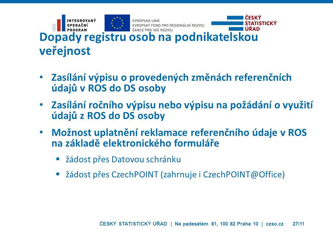 ČESKÝ STATISTICKÝ ÚŘAD | Na padesátém 81, 100 82 Praha 10 | czso.cz27/11 Dopady registru osob na podnikatelskou veřejnost Zasílání výpisu o provedenýc