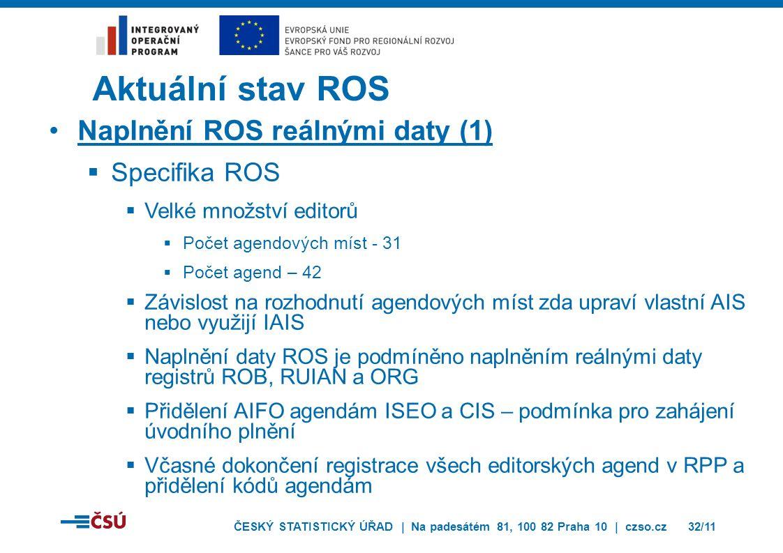 ČESKÝ STATISTICKÝ ÚŘAD | Na padesátém 81, 100 82 Praha 10 | czso.cz32/11 Aktuální stav ROS Naplnění ROS reálnými daty (1)  Specifika ROS  Velké množ